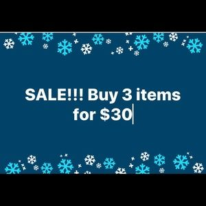 Bundle 3 items for $30! Deal will not last long!